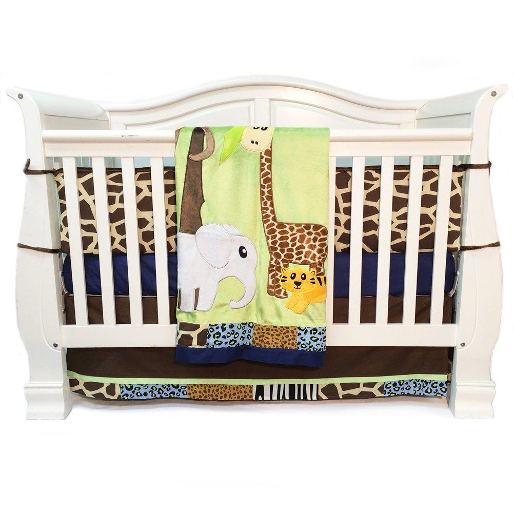 One Grace Place Jazzie Jungle Boy Infant Crib Bedding, Light Blue/Navy Blue, 4 Piece by One Grace Place [並行輸入品]   B00DIHOJGI