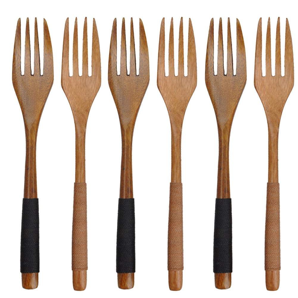 Cospring 7in Solid Wood Forks for Desserts, Chips, Snacks, Cereal, Salad, Fruit, Decoration,Handmade Phoebe Long Handle with Jute string wrapped (Set of 6)