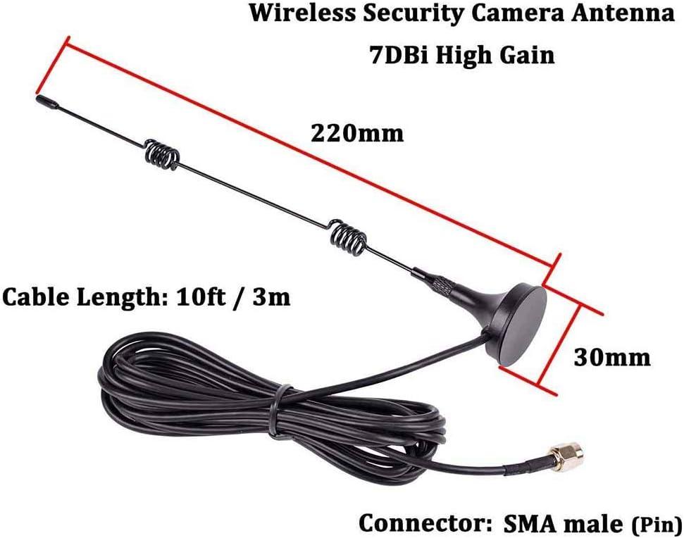10ft//3M 7dBi Gane HD C/ámara de Seguridad Inal/ámbrica Extensi/ón de Antena de Video para CCTV C/ámara de Seguridad C/ámara IP Conector TengKo 2.4GHz WiFi AntenaConector Macho SMA con Base Magn/ética