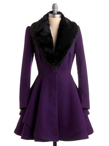 Abrigo largo de invierno elegante para mujer estilo retro abrigo A-line cóctel de moda con cuello en V de pelo sintético