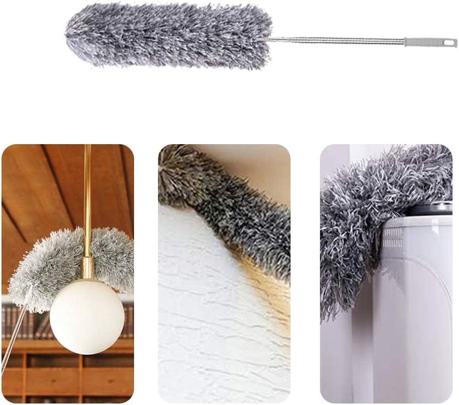 PopHMN Plumeau extensible kit de nettoyage comprenant 3 accessoires de d/époussi/érage-chiffon en microfibre plumeau t/élescopique avec rallonge de 2,5 m