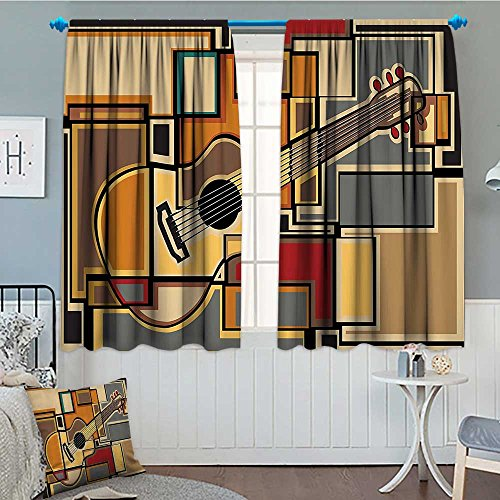 SeptSonne-Home Music Decor Blackout Window Curtain Funky Fractal Geometric Square Shaped Background with Acoustic Guitar Figure Art Customized Curtains 52