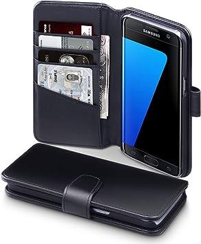 Galaxy S7 Edge Case, Terrapin Étui Housse en Cuir Véritable pour Samsung Galaxy S7 Edge Coque Cuir - Noir