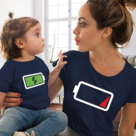 Yoyorule Summer Fashion Parent Child Matching Clothes Mom and Baby Cute Powerful T-Shirt