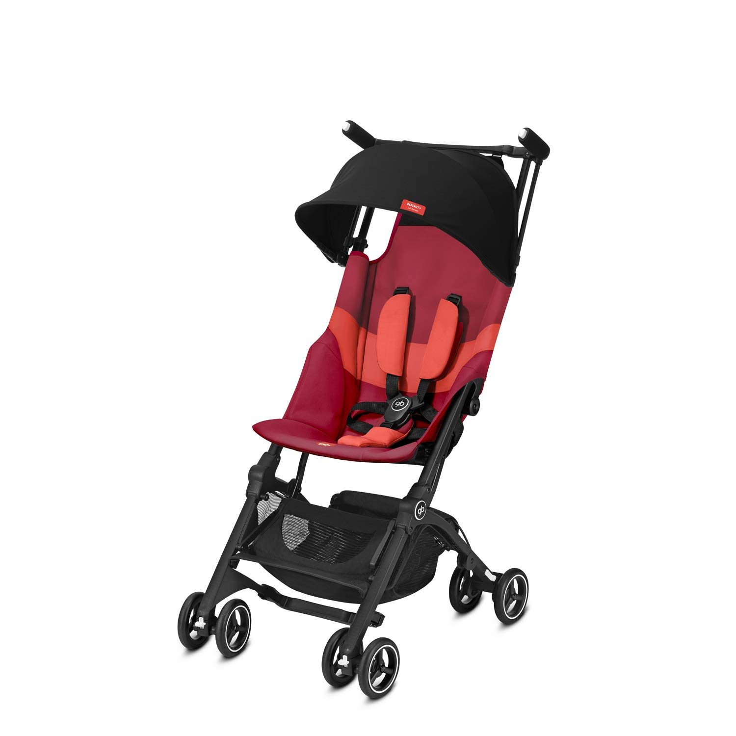 gb Gold Pockit+ All Terrain Ultra Compact Pushchair, Cabin Luggage Compliant, From 6 Months to 17 kg (approx. 4 Years), Rose Red