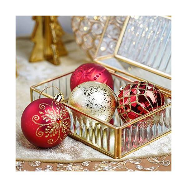 Valery Madelyn Palle di Natale 24 Pezzi 6cm Palline di Natale, Ornamenti di Palla di Natale Infrangibili di Lusso Rosso e Oro per la Decorazione Dell'Albero di Natale 5 spesavip