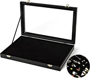 Todeco Jewelry Ring Display Organizer Storage Box Case Tray,100 Slots Velvet Lining Ring Showcase Organizer Holder for Ring, Earrings, Cufflinks, Necklace Pendant Holder,13.8 x 9.4 x 1.8 inches, Black