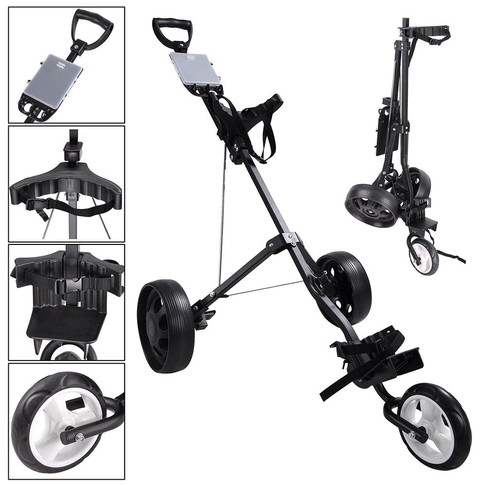 AW Foldable 3-Wheel Push Pull Golf Cart Trolley 6'' Front 9'' Rear Wheel w/Manual Outdoor