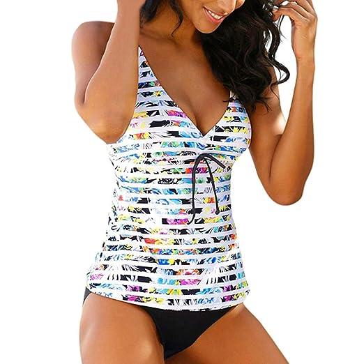 baa36c0a5 MALLOOM Women Summer Bikini Sets Sexy Swimwear Swimsuit Colorful Stripe Swim  Tankini Tank Top Thong Bottom