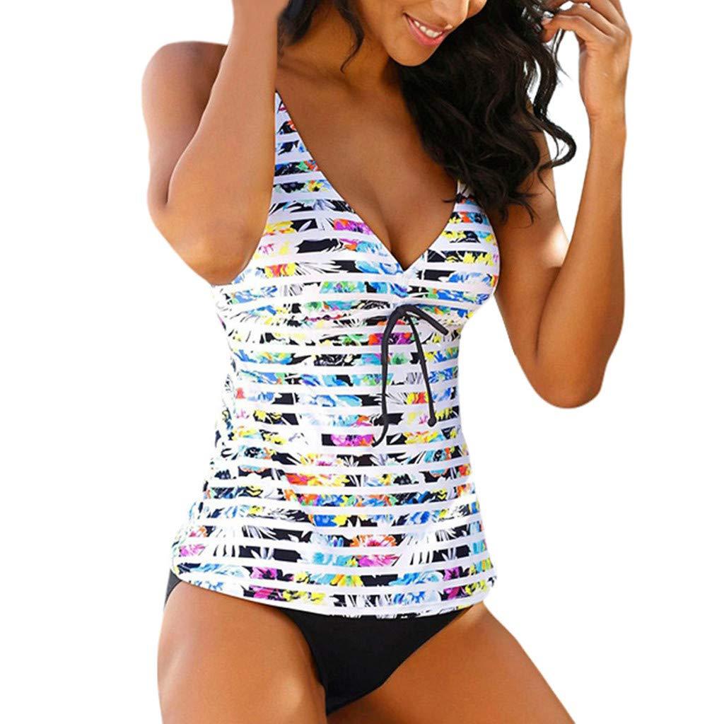 COOKI Women Swimsuit Floral Printed Tankini Top Bikini Swimwear Two Piece Bottoms Tankini Swimsuits Bathing Suits