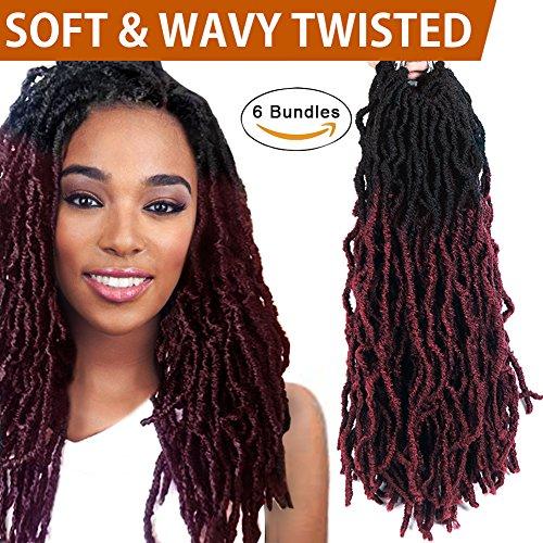 Twist Red Wine - FASHION IDOL 6 Bundles of Synthetic Wavy Faux Locs Crochet Hair 18 Inch (NATURAL BLACK & WINE RED) - Dreads Crochet Hair Dreadlock Extensions - Synthetic Hair Extensions Crochet Twist Hair