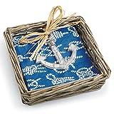 Mud Pie Willow Basket with Napkin & Anchor Weight, Blue