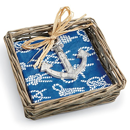 Rattan Napkin Holder (Mud Pie Willow Basket with Napkin & Anchor Weight,)