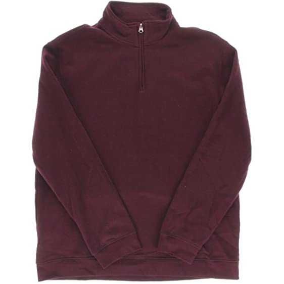 John Ashford Mens Solid 1/4 Zip Pullover Sweater Red S at Amazon ...