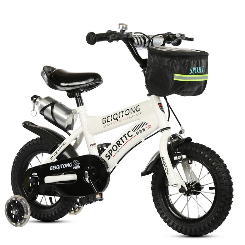 KANGR-子ども用自転車 子供用自転車適合2-3-6-8男の子と女の子子供用玩具屋外用マウンテンバイクハンドルバーとサドルはフラッシュトレーニングホイールで調節可能な高さにできますウォーターボトルとホルダー-12 いつでも送料無料 14 16 18インチ 色 贈答品 白 : さいず B07BTWJPQ4 サイズ inches