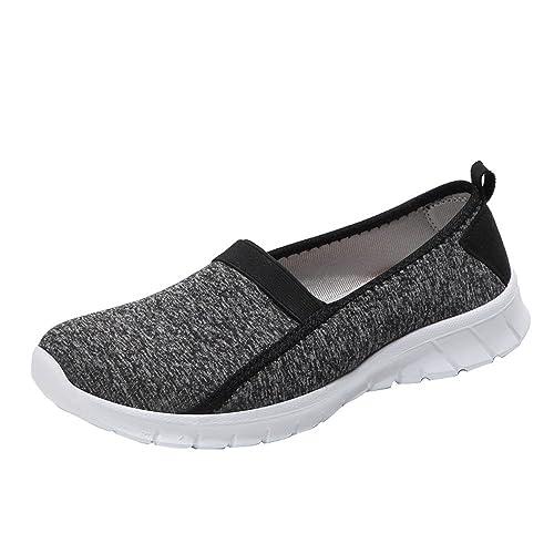 Logobeing Zapatillas Deportivas de Mujer Running Sneakers Gimnasia Mocasines Malla Suave Cabeza Redonda Slip-On