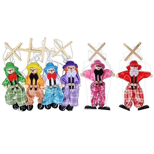 Xuniu Pull String Puppet Toy, Payaso Marioneta de Madera de ...