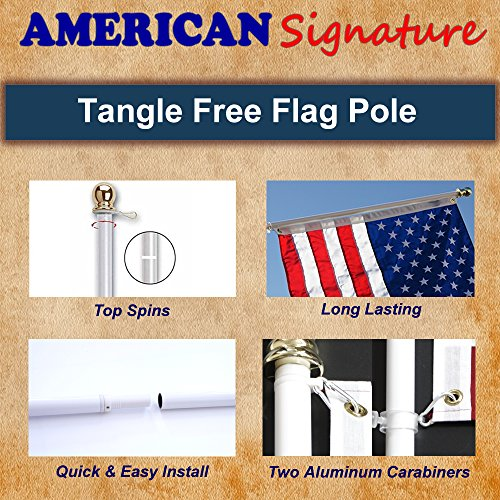American Signature Flag Pole 6 ft - Heavy Duty Aluminum Tangle Free Spinning Flagpole with Carabiners - 2019 New Enhanced Design - Outdoor Wall Mount Flagpole for Residential or Commercial (Black, 6) by American Signature (Image #3)