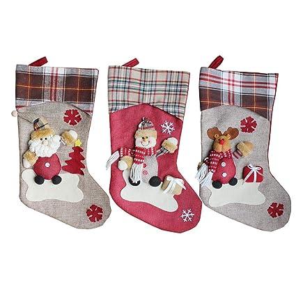 Calcetines de Navidad Bolsa de regalo Decoración de Navidad Santa Snowman Socks 3PCS - Yves25Tate
