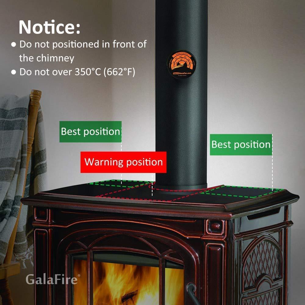 ventilador de estufa accionado por calor para Estufas de gas//pellet//le/ña Ventilador de quemador de le/ña ultra silencioso GALAFIRE Ventilador de estufa de 4 palas Term/ómetro de estufa incluido