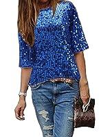 Damen Bluse IHRKleid® Frauen Strapless Pailletten beiläufige lose T-Shirt Tops Langarm weg von der Schulter Hemd Bluse