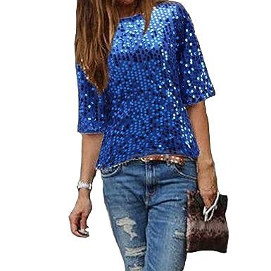 brand new faad4 83f59 Damen Bluse IHRKleid® Frauen Strapless Pailletten beiläufige lose T-Shirt  Tops Langarm weg von der Schulter Hemd Bluse