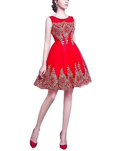 manfei corto vestidos de novia dama Party Fiesta Oro appliques Rojo Tres Tamaño 12