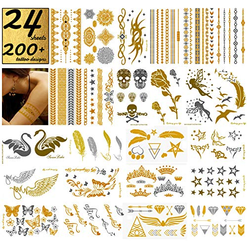 24 Sheets Metallic Temporary Tattoos, Gold Silver Glitter, 200+ Color Flash Fake Waterproof Tattoo Stickers-For Adults or Kids. -