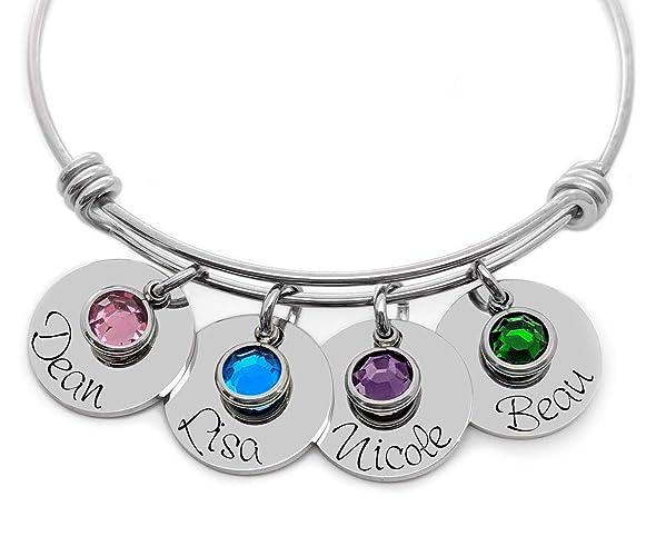 amazon com a personalized adjustable charm bangle bracelet name