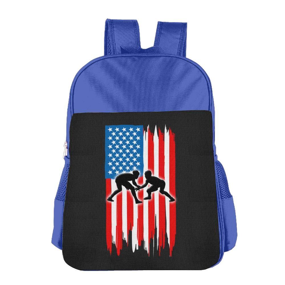 American Flag Wrestling Cool Children's School Backpacks BookBag