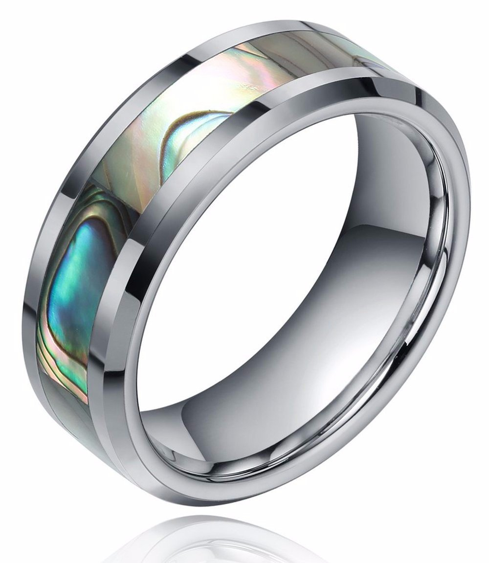 8mm Abalone Shell Tungsten Rings Comfort Fit Mother of Peal Men Women Wedding Band Size 7.5