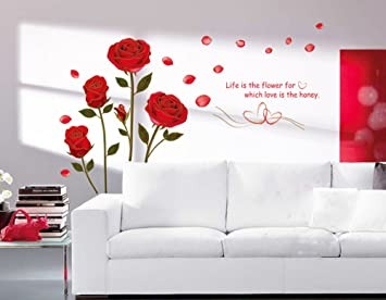 Living Room//Bedroom with Red Rose Removable Wall Sticker
