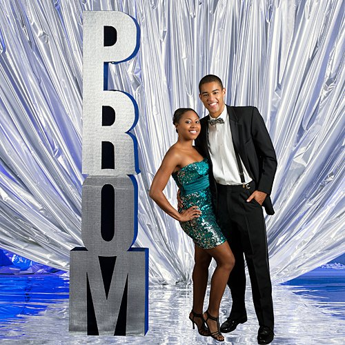 Shindigz 7 ft. 6 in. Prom Silver Column Photo Booth Prop Background Backdrop Party Decoration Scene Setter