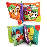 1pc Baby's First Soft Cloth Books Soft Cloth Cognition Sensory Book Learning and Activity Early Education Toys Activity Crinkle Cloth Book for 0-3 Years Old Baby(Animal)