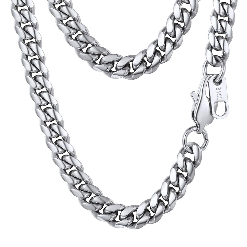 Cuban Chain with Clasp 6MM/10MM/14MM Wide Necklace for Pendant 316L Stainless Steel Jewelry 18K Gold/Black Gun Plated Men Jewelry 18''/20''/22''/24''/26''/28''/30'' product image