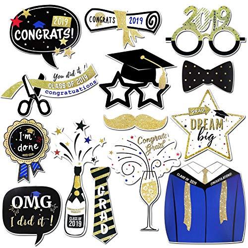 Konsait Graduation Photo Booth Props, Large Graduation Photo Props Grad Party Decor Class of 2019 with Sticks, Graduation Party Favors Supplies Decorations Student Gift(14count)]()