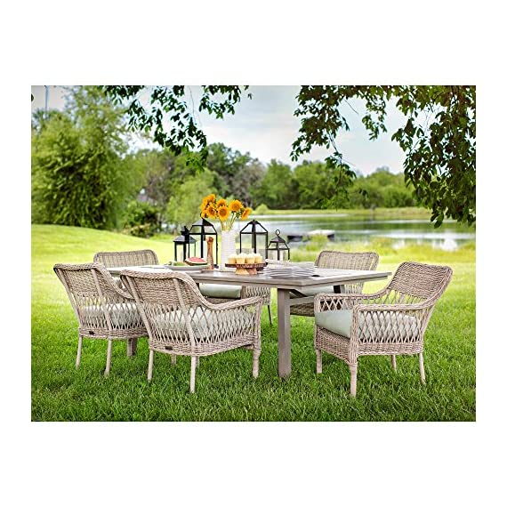 Blue Oak Outdoor Colfax Patio Furniture 7 Piece Dining Set (Dining Table, 6 Dining Chairs) with Sunbrella Cast Oasis Cushions - Luxury patio Dining: you and your party guests will dine in comfort while enjoying cocktails and great conversation. Ideal for patio, garden, deck, porch, fire pit, and Poolside entertainment Trusted quality: beautiful and Best quality outdoor patio furniture set made by the Best known veterans in the patio set industry with dozens of years of experience and innovation Long lasting build: fully hand-woven from oversized vintage Rattan inspired all-weather wicker patio furniture weave chairs. The thick, rustproof aluminum gives it superior durability in the elements - patio-furniture, dining-sets-patio-funiture, patio - 61JVKW3h0rL. SS570  -