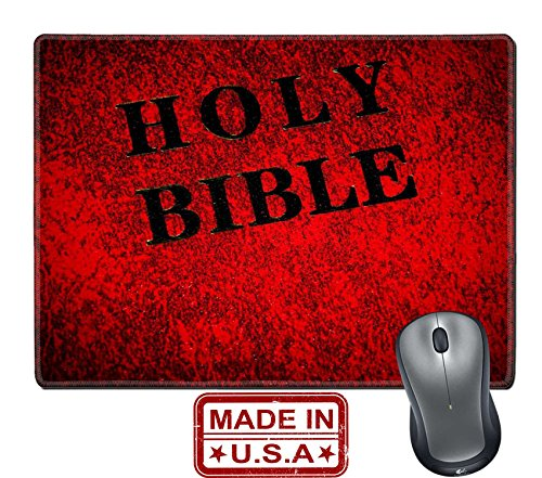 """Liili Natural Rubber Mouse Pad/Mat with Stitched Edges 9.8"""" x 7.9"""" Red cover of the Bible book Photo 6725064"""
