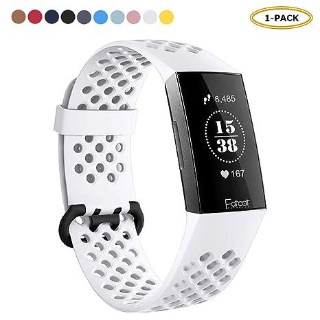 FatcatBand Bracelet pour Fitbit Charge 3, Bande en Silicone Souple Sangle de Remplacement Reglables Sport