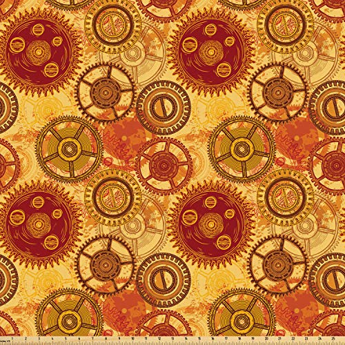 Ambesonne Steampunk Fabric by The Yard, Vintage Pattern with Various Gears of Clockwork on Worn Out Style Background, Microfiber Fabric for Arts and Crafts Textiles & Decor, Multicolor from Ambesonne