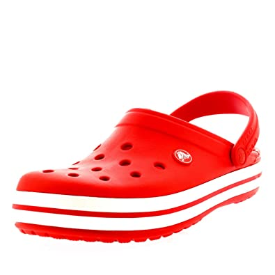 2d56da7afb52 Crocs Mens Crocband Slip On Beach Lightweight Summer Holiday Sandals - Flame  White - M9