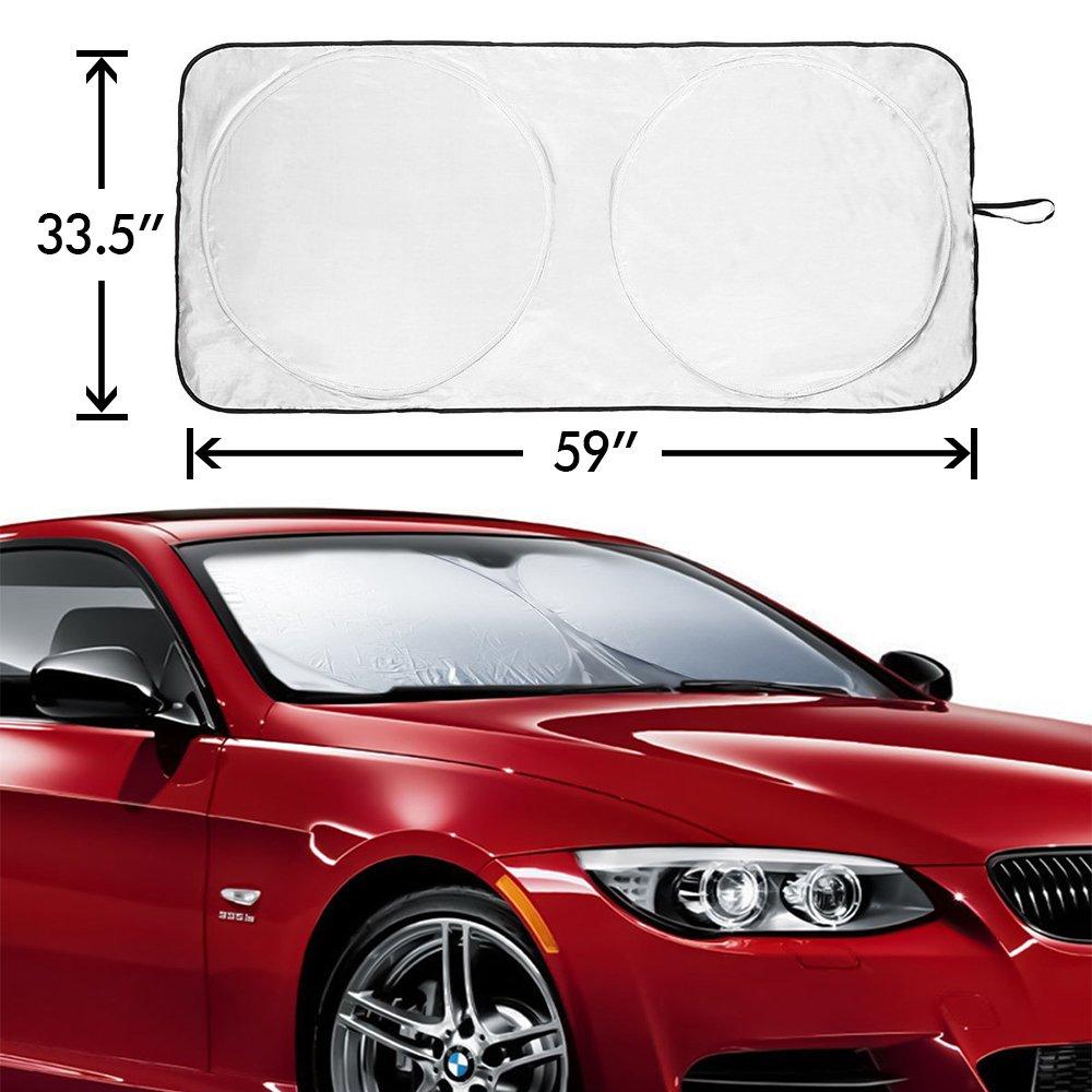 Car Windshield Sunshade Folding Front Car Window Sun Shade, Metacrafter Blocks UV Rays Sun Visor Protector Pop Up Style Fit for Vans SUVs and Trucks Automotive Shade 59 ''x33''