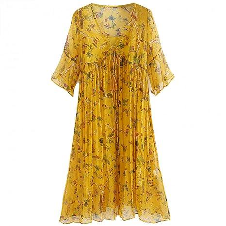 BINGQZ Casual Vestido Vestido de Seda Mujer Vestido de Verano ...