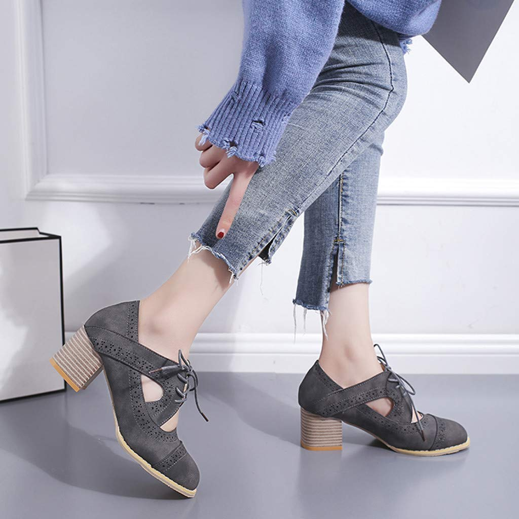 Moonker Women Summer Shoes Sandals Ladies Girls Suqare Heels Lace-Up Short Boot Solid Hollow Single Shoes Sandals