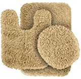 5 Pc Bath Rug Set Garland Rug 3-Piece Serendipity Shaggy Washable Nylon Bathroom Rug Set, Linen