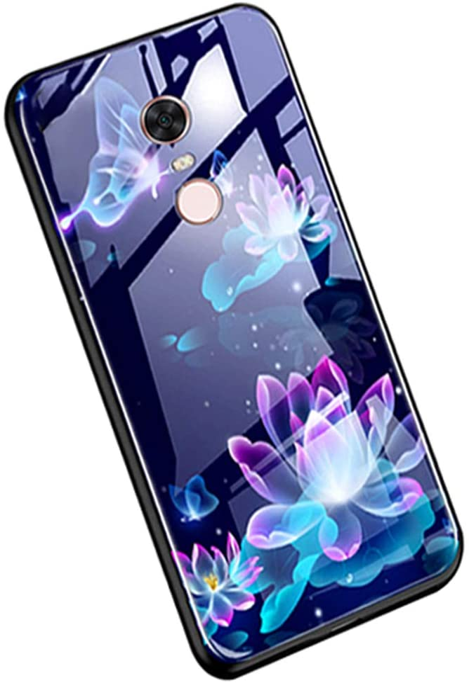 YSIMEE Compatible con Fundas Xiaomi Redmi 5 Plus Carcasa Noche Luminoso Vidrio Templado con Encuadrar Silicona Suave TPU Ultra Fino Anti-Choque Anti-arañazos Delgado Noctilucent Case,Lotus