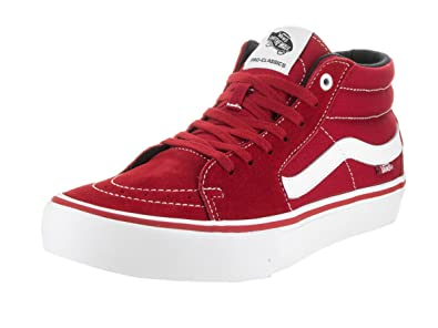 Vans Men's Sk8-Mid Pro Scarl Scarlet/White Skate Shoe 9.5 Men US