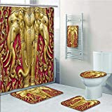 VROSELV 5-piece Bathroom Set- Carved G Paint on Door Thai Temple Spirituality Statue Classic Gen Prints decorate the bathroom,1-Shower Curtain,3-Mats,1-Bath towel(Large size)