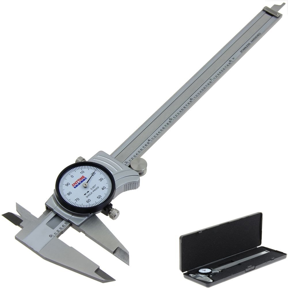 Anytime Tools Premium Dial Caliper 8''/0.001'' Precision Double Shock Proof Solid Hardened Stainless Steel