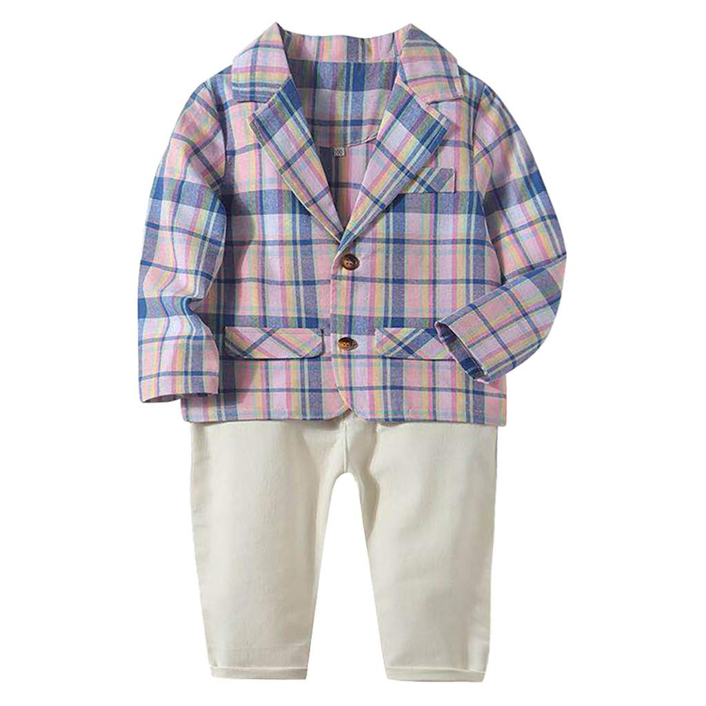 Toddler Boys Clothes Winter Warm,Toddler Baby Kid Boys Gentlement Striped Plaid Coat Solid Pants Trousers Set Pink by PLENTOP